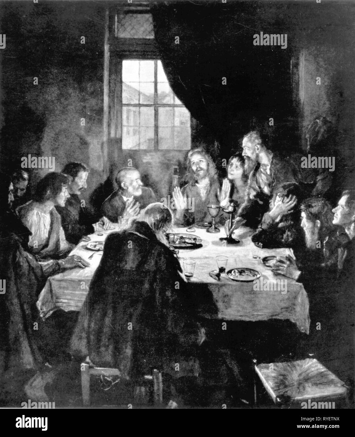 religion, Christianity, Jesus Christ, last supper, 'Das Abendmahl' (Last Supper), painting by Fritz von Uhde (1848 - 1911), 1898, Artist's Copyright has not to be cleared - Stock Image