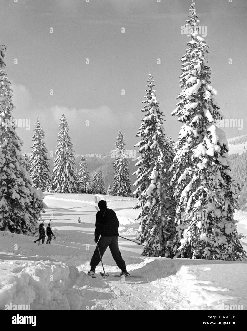 sports, winter sports, skiing, slowly downhill with snowplough turn, Feldberg, Black Forest, 1950s, Additional-Rights-Clearance-Info-Not-Available - Stock Image