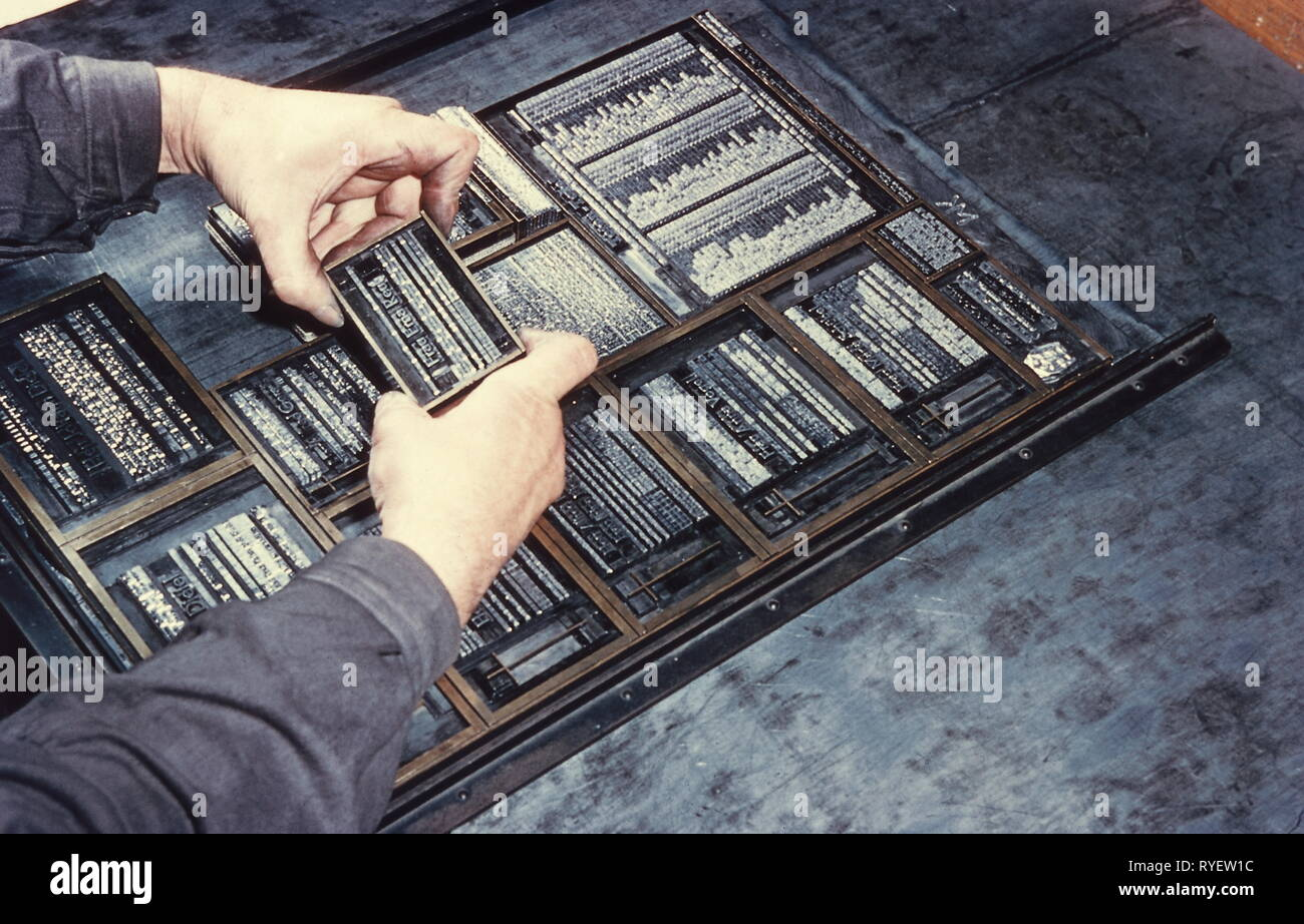 press / media, composing-room, typesetter with letter case, setting ad-page, 1957, Additional-Rights-Clearance-Info-Not-Available - Stock Image