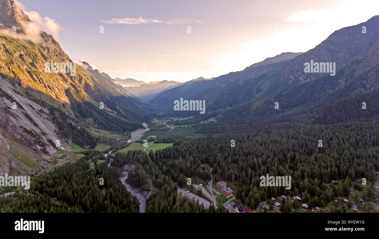 High Alpine mountains, paths, forests and river valleys of La fouly in the canton of Valais in Switzerland. Stock Photo