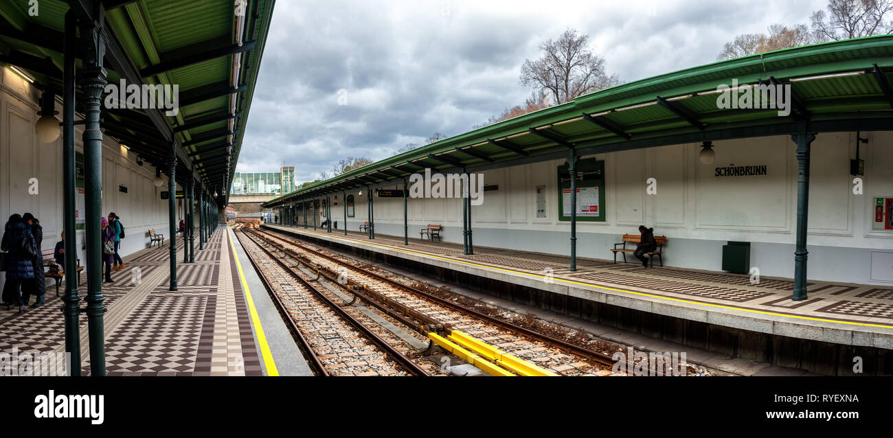 Schoenbrunn Metro Station On U4 Metro Line Designed By The Famous