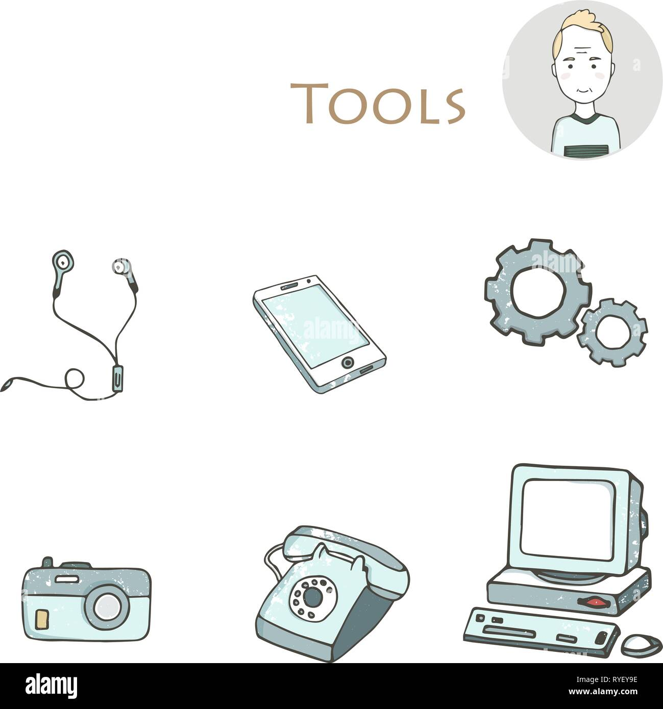 Set of hand drawn electorinc gadget icons with pc, phone, photo camera, headphones, tools, computer, laptop, monitor. Isolated clip art grunge style t Stock Vector