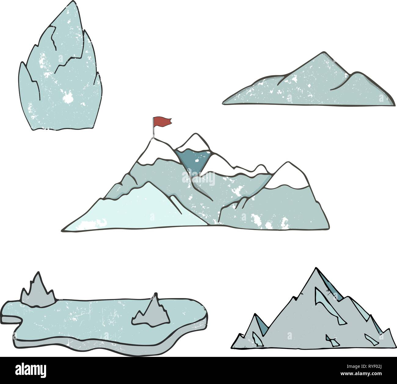 Mountain icons or logotypes. Vector illustration of mountains landscape isolated on white background. Hand drawn clip art grunge style texture. Alps.  - Stock Vector