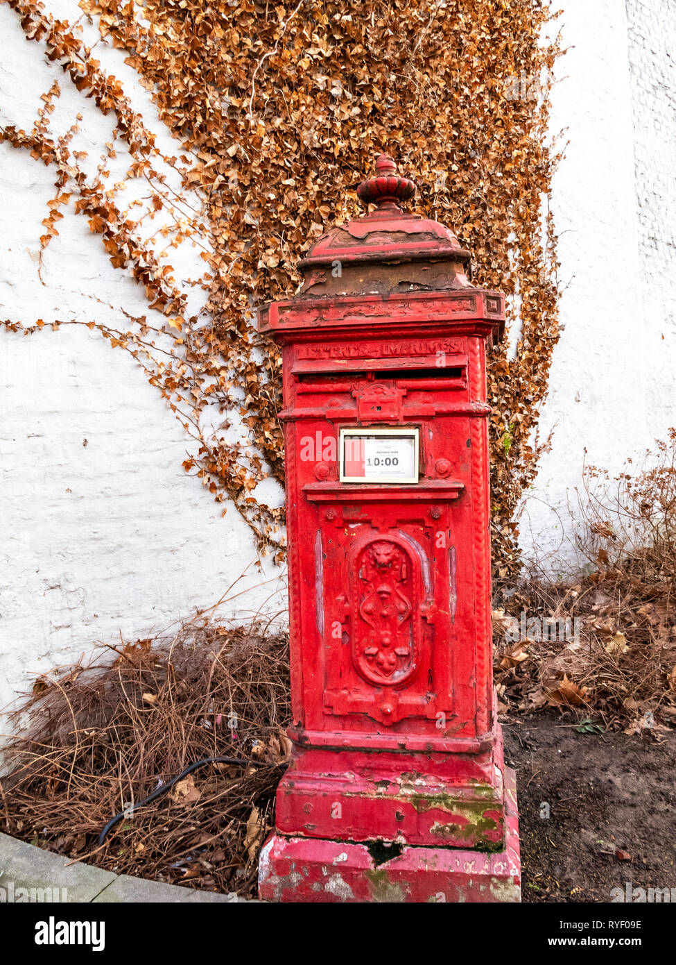Old red postbox in the Belgian town of Verviers against a whitewashed building wall with a dried winter creeper plant - Stock Image