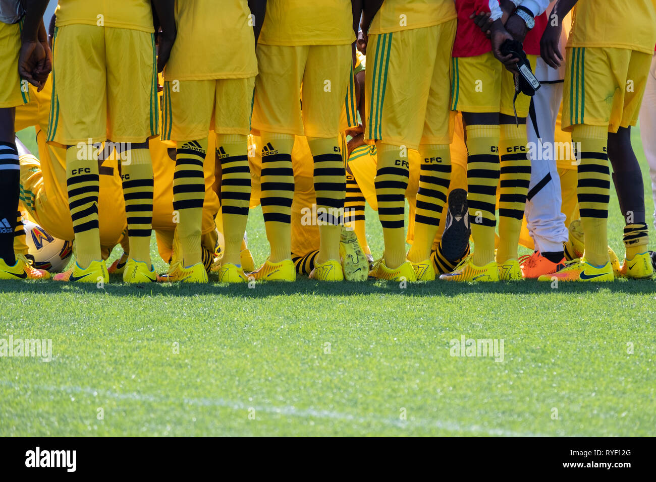 World Games Special Olympics 2019 Abu Dhabi: Yellow socks of Ghana Sepcial Olympics Football Team - Stock Image