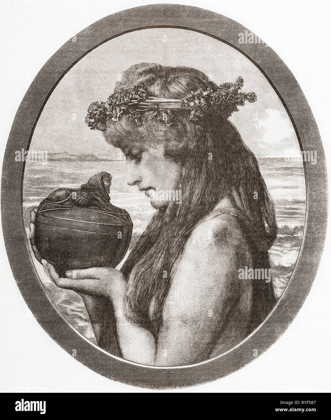 Pandora.  In Greek mythology Pandora opened a jar thereby releasing all the evils of humanity.  From Ilustracion Artistica, published 1887. - Stock Image