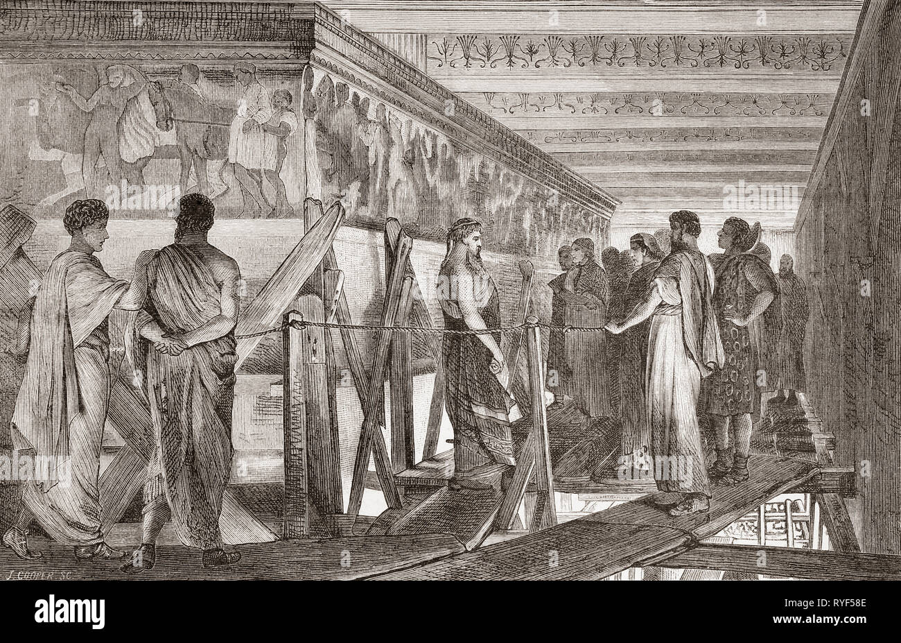 Phidias showing the frieze of the Parthenon to his friends, after the painting by Sir Lawrence Alma-Tadema.   Phidias or Pheidias, c. 480 – 430 BC.  Greek sculptor, painter, and architect.  From Ilustracion Artistica, published 1887. - Stock Image