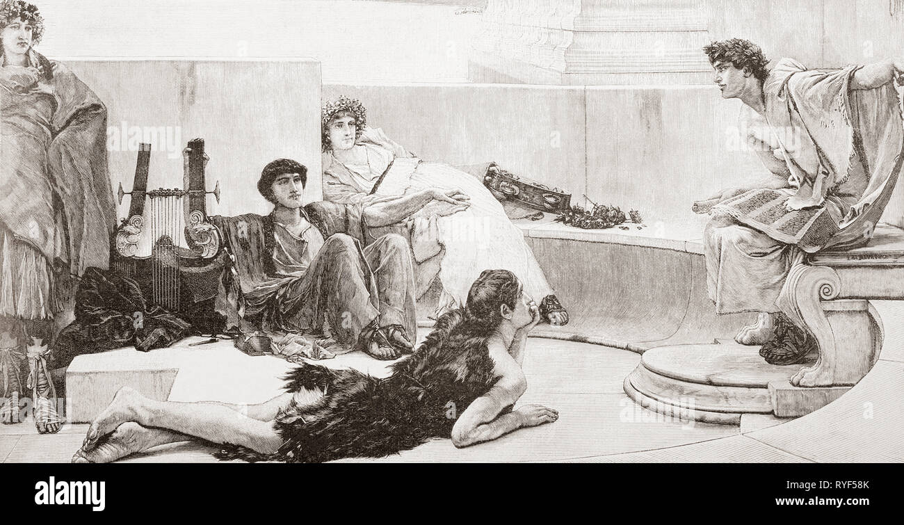 Scholars in ancient Greece listening to a lecture by Homer.  Homer, c.900 BC - c.850 BC.   Ancient Greek poet.  From Ilustracion Artistica, published 1887. - Stock Image
