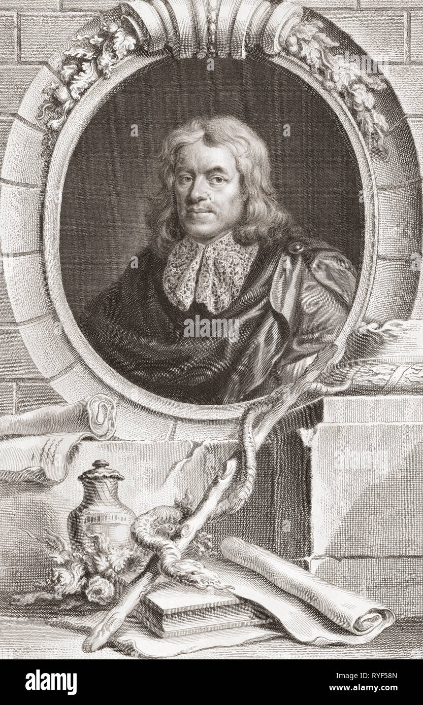 Thomas Sydenham, 1624 – 1689.  English physician.  From the 1813 edition of The Heads of Illustrious Persons of Great Britain, Engraved by Mr. Houbraken and Mr. Vertue With Their Lives and Characters. - Stock Image
