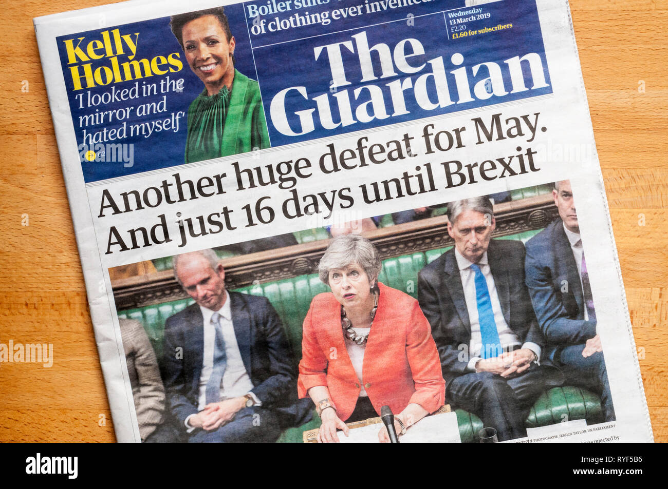 Front page of The Guardian newspaper on 12 March 2019 after the government's second large defeat over the BREXIT terms for leaving the EU. - Stock Image