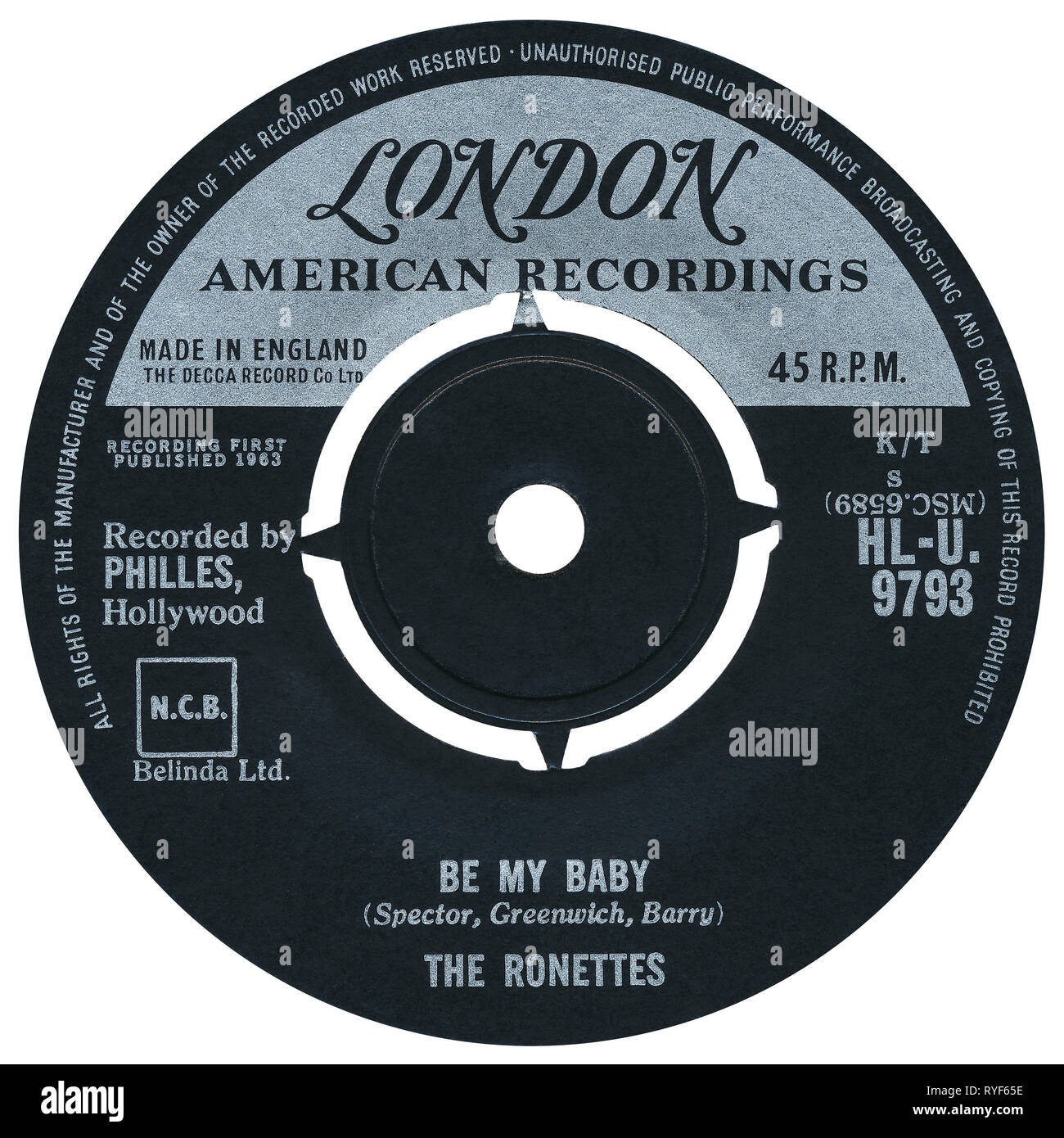 UK 45 rpm single of Be My Baby by The Ronettes on the London label from 1963. Written by Phil Spector, Ellie Greenwich and Jeff Barry, produced by Phil Spector and arranged by Jack Nitzsche. Stock Photo