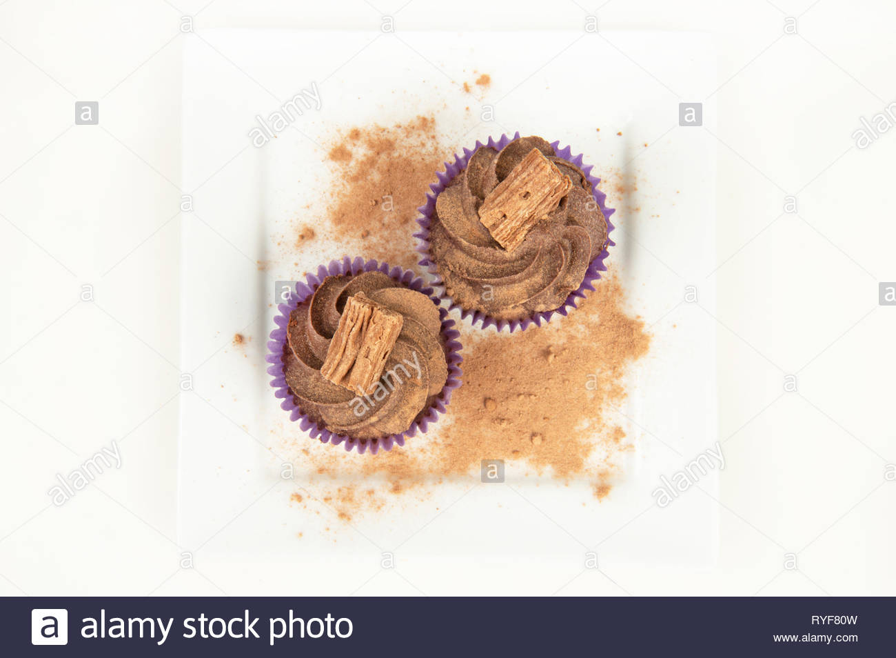 Two small cakes on a plate with cocoa powder - Stock Image