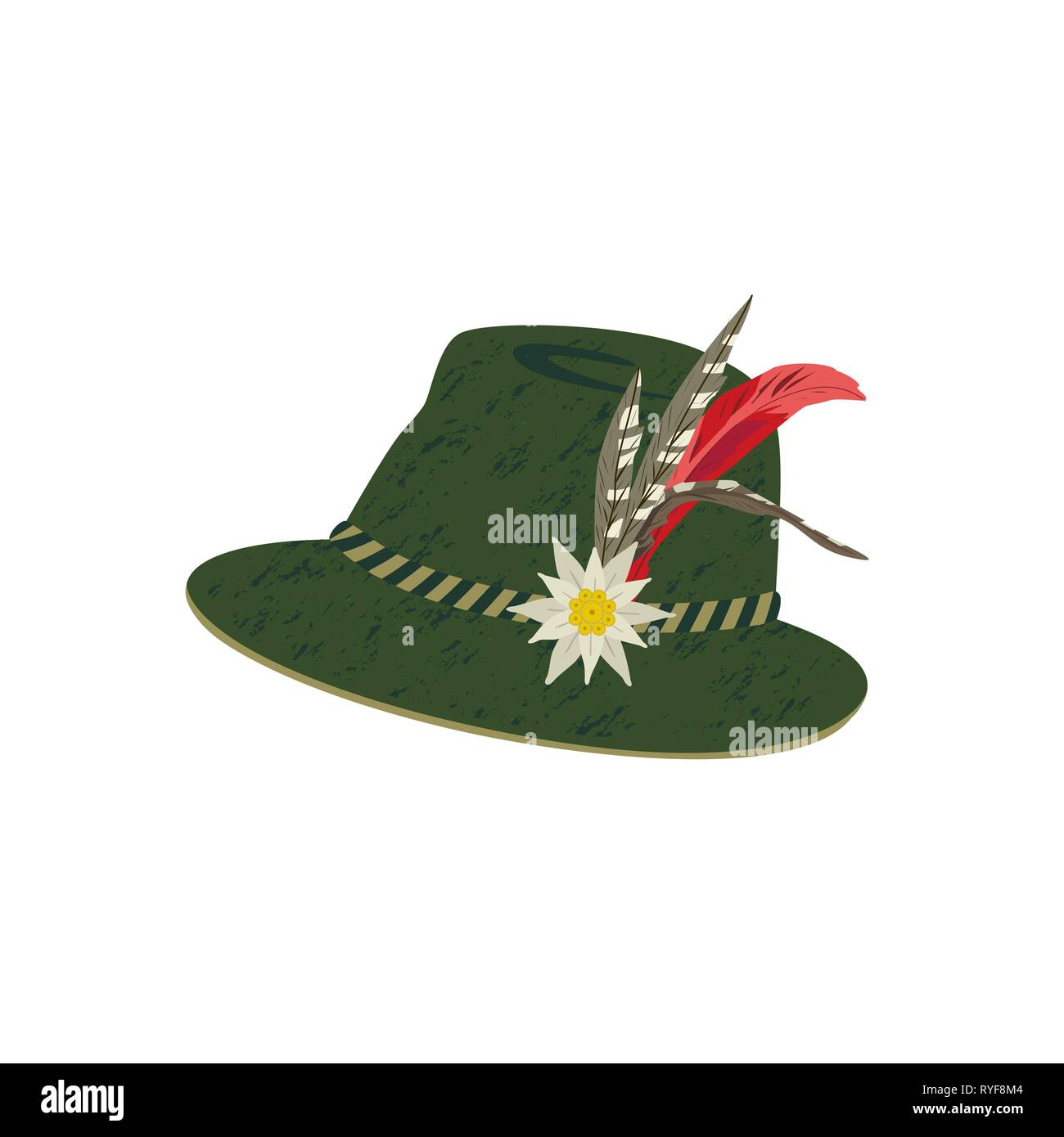 ceb22363 Fedora Felt Hat with Edelweiss and Feather - Stock Vector