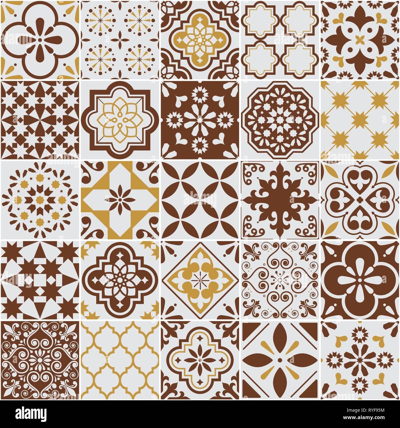 Lisbon Azulejos tile vector pattern, Portuguese or Spanish retro old tiles mosaic, Mediterranean seamless brown design - Stock Vector