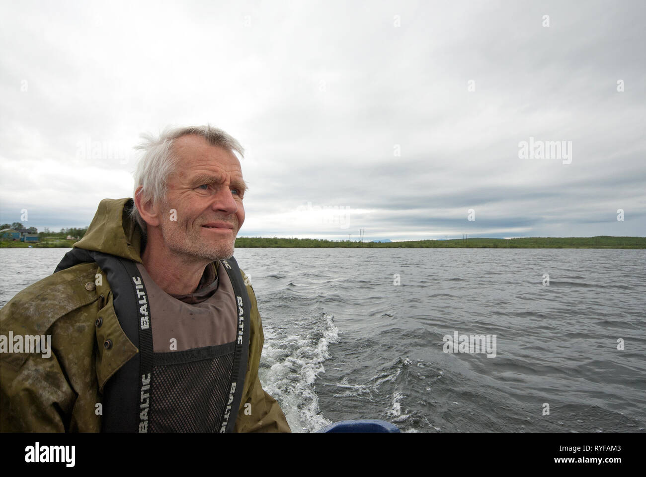 The outdoor guide and musher Sven Engholm at Nattvann lake, Karasjok, Finnmark County, Norway - Stock Image