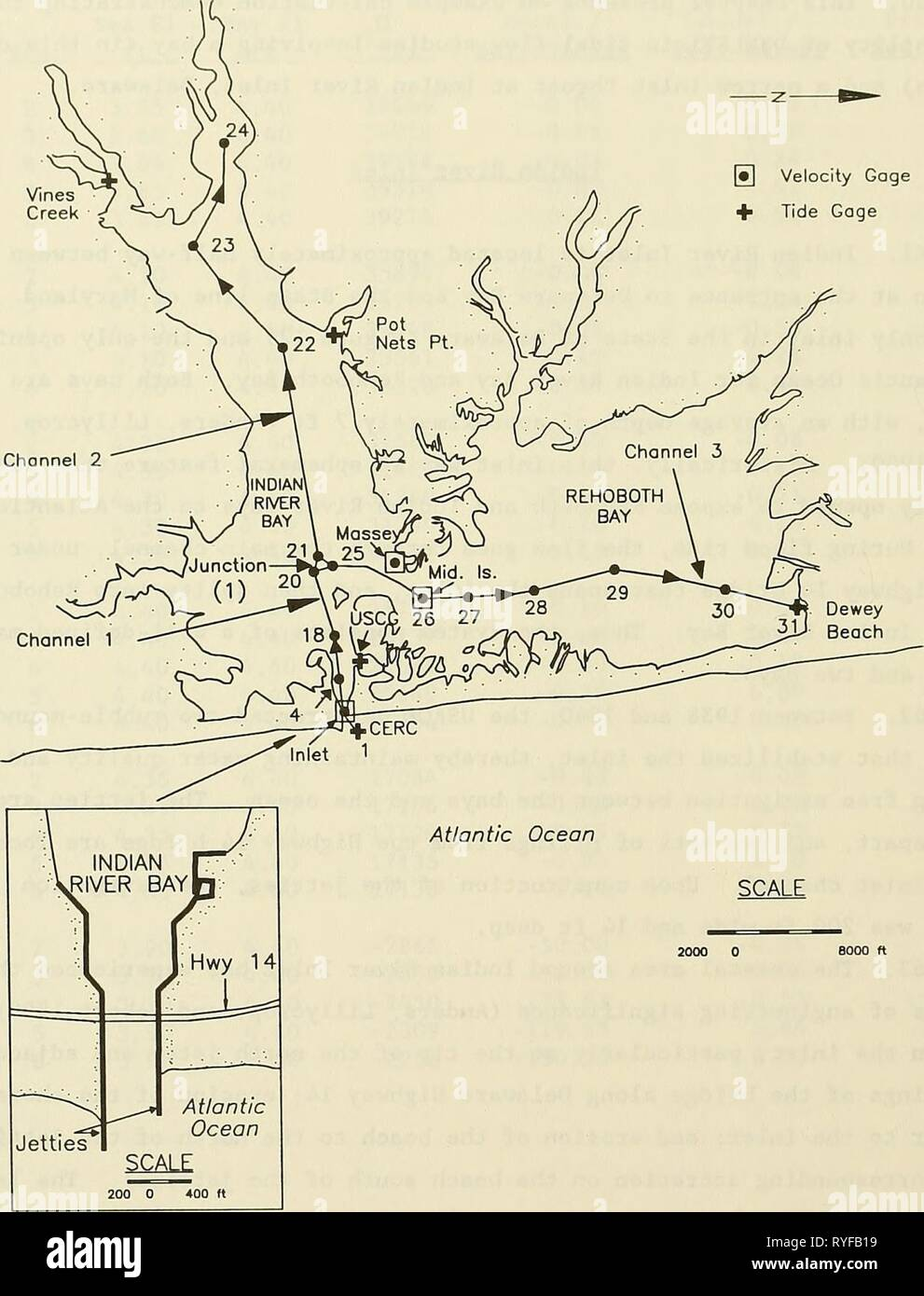 DYNLET1 : dynamic implicit numerical model of one-dimensional tidal flow through inlets  dynlet1dynamicim00amei Year: 1991    Figure 12. Schematic plan for Indian River Inlet 66 Stock Photo
