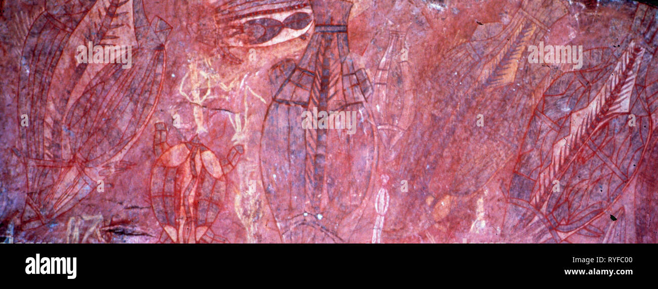 Australia: ancient aborigines stone paintings in the outback - Stock Image