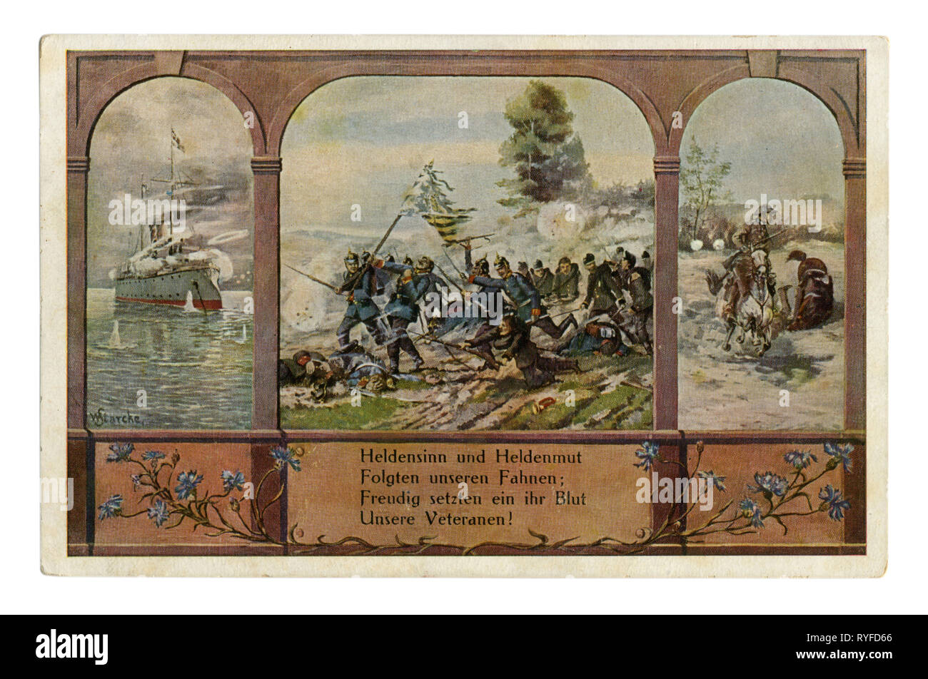 German historical postcard: Triptych. Dedicated to the German soldiers-veterans of the wars at sea and on land. In the colony and in Europe, Germany - Stock Image