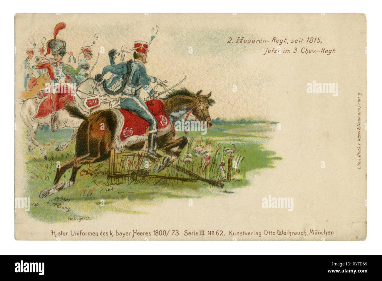 German historical postcard: Lithography of the late 19th century. A squadron of light cavalry hussar rides in the attack, 1815, Napoleonic wars - Stock Image