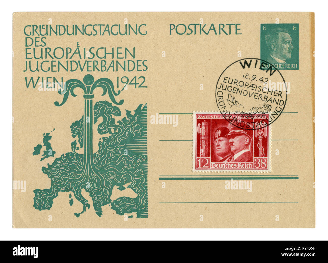 German historical postal card: Day of Foundation of the European youth organization. Young tree growing from the center of the map of Europe. Germany, - Stock Image