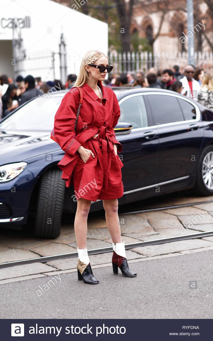 Leonie Hanne fashion blogger at Roberto Cavalli fashion show. Milan fashion week aw 2019 - Stock Image