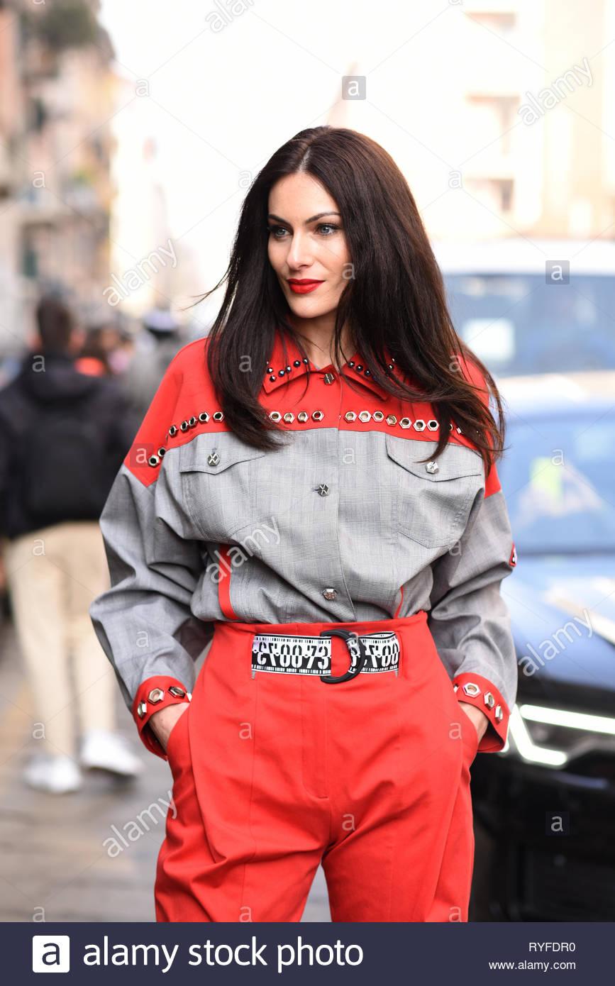 Italian social influencer and ,model Paola Turani at Salvatore Ferragamo fashion show 21 Feb 2019 . Milan fashion week AW 19 - Stock Image