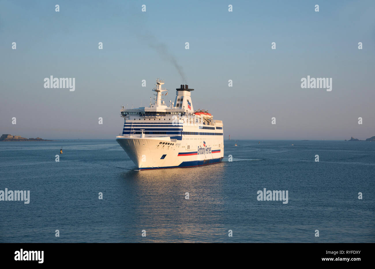 The Brittany Ferries, Bretagne, coming in to St Malo harbour, in France - Stock Image