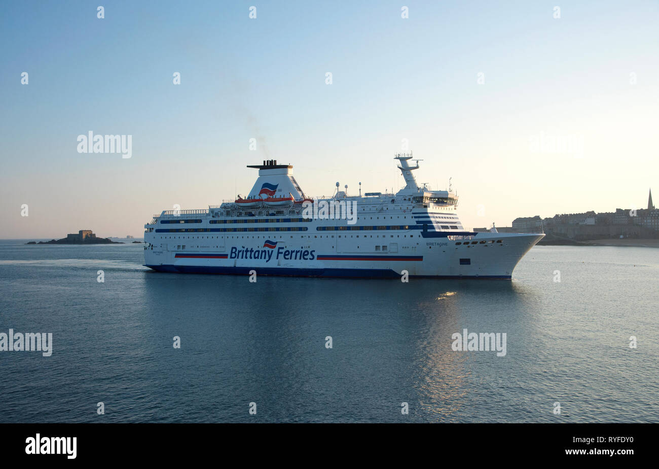 Brittany Ferries, MV Bretagne, entering the port of Saint-Malo, in France - Stock Image