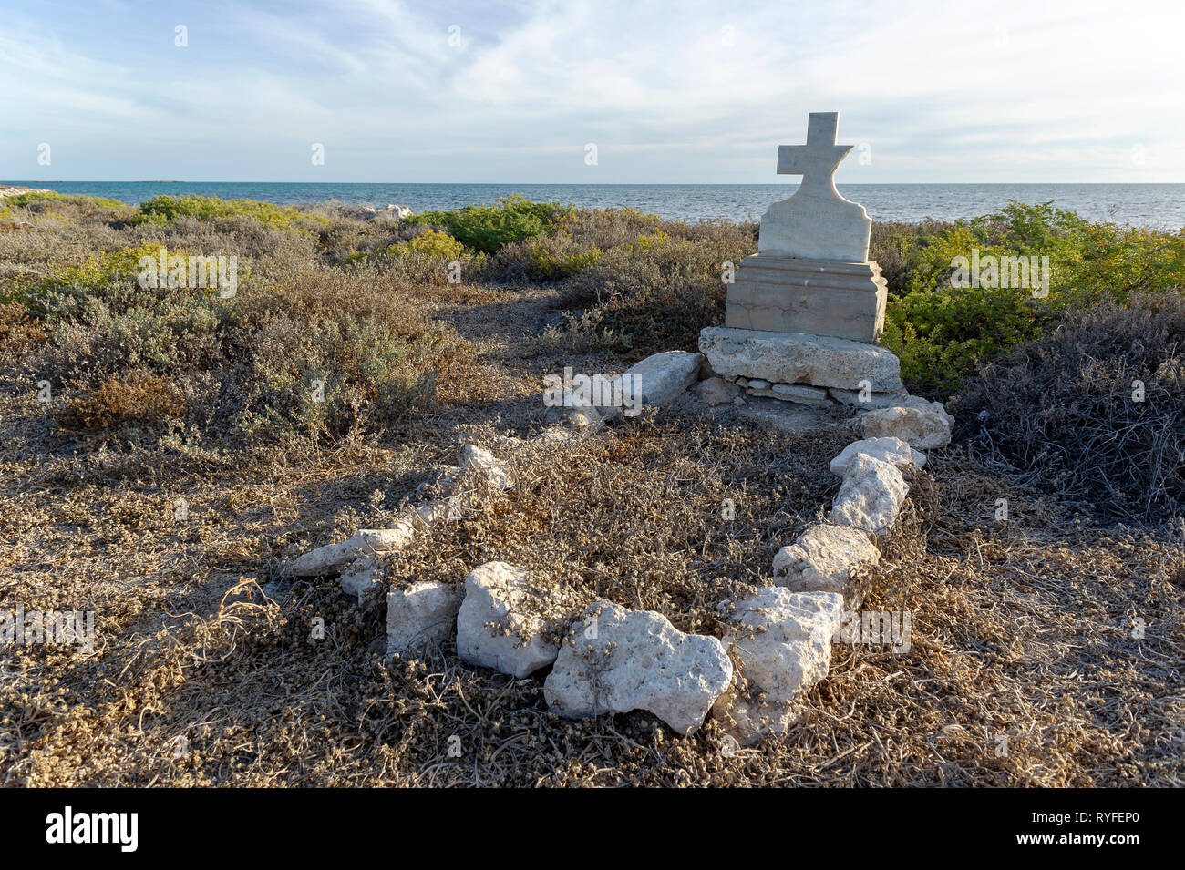 An abandoned gravesite on Big Rat Island, Houtman Abrolhos. The Houtman Abrolhos islands lie 60 kilometres off the coast of Geraldton in Western Austr Stock Photo