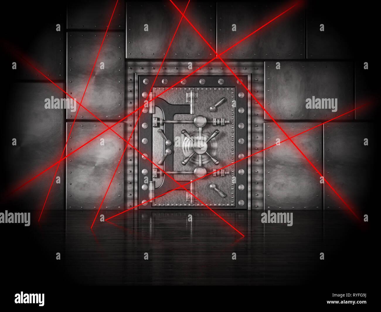 Red laser beams on bank vault door under heavy protection. 3D illustration. - Stock Image