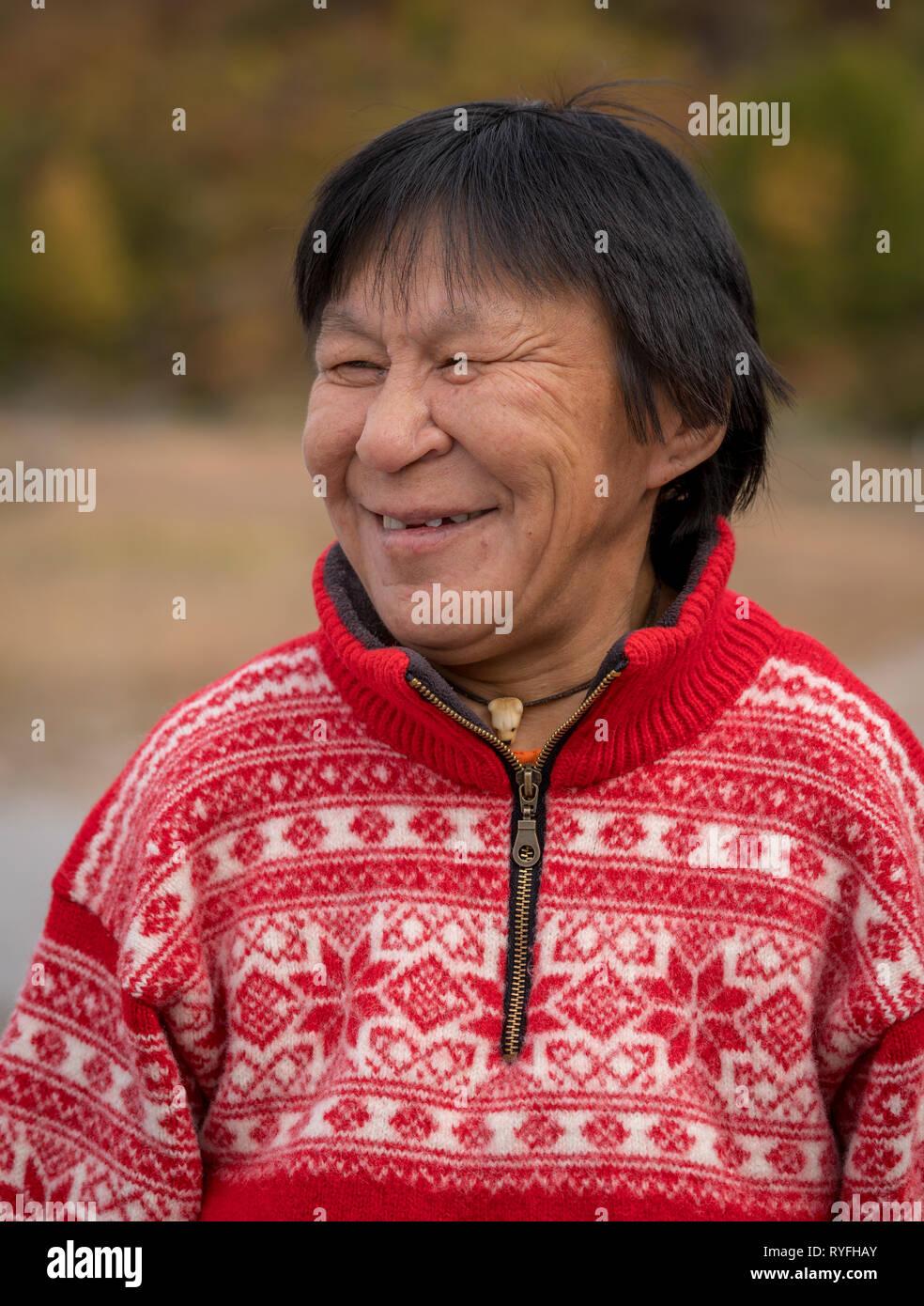 Female portrait, Narsasuaq, South Greenland - Stock Image