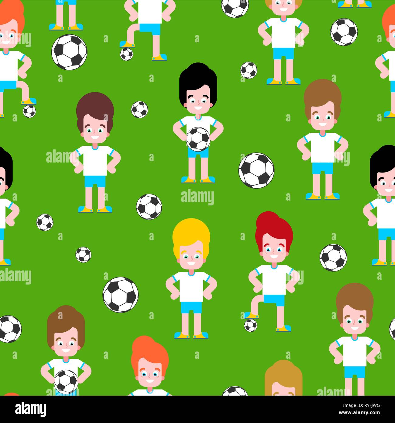 Children soccer pattern seamless. Boy football player set. team Little footballer Vector illustration - Stock Vector