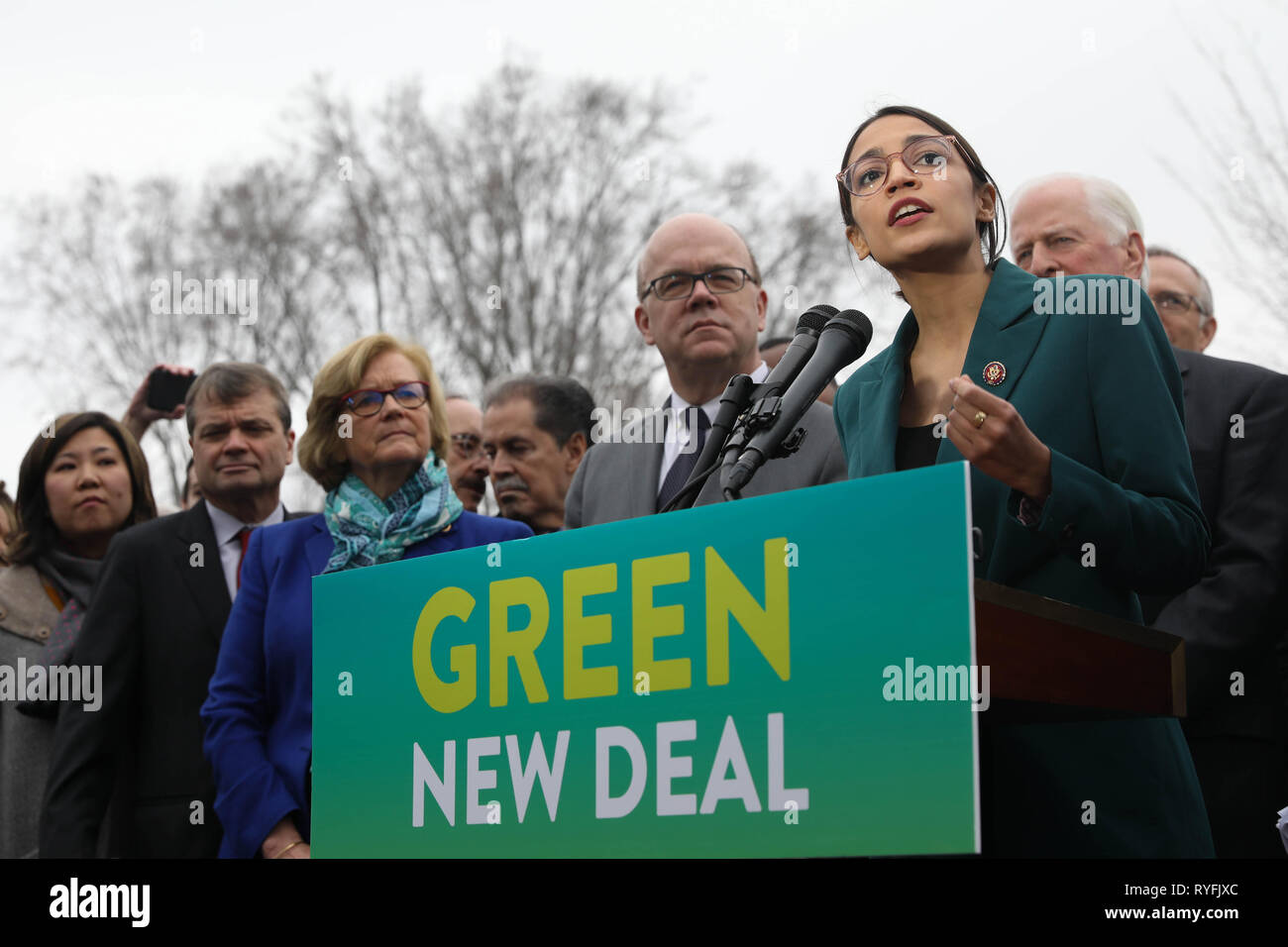 U.S. Rep. Alexandria Ocasio-Cortez of New York, along with other members of Congress announce the Green New Deal legislation during a press conference outside the Capitol Building February 7, 2019 in Washington, D.C. Stock Photo