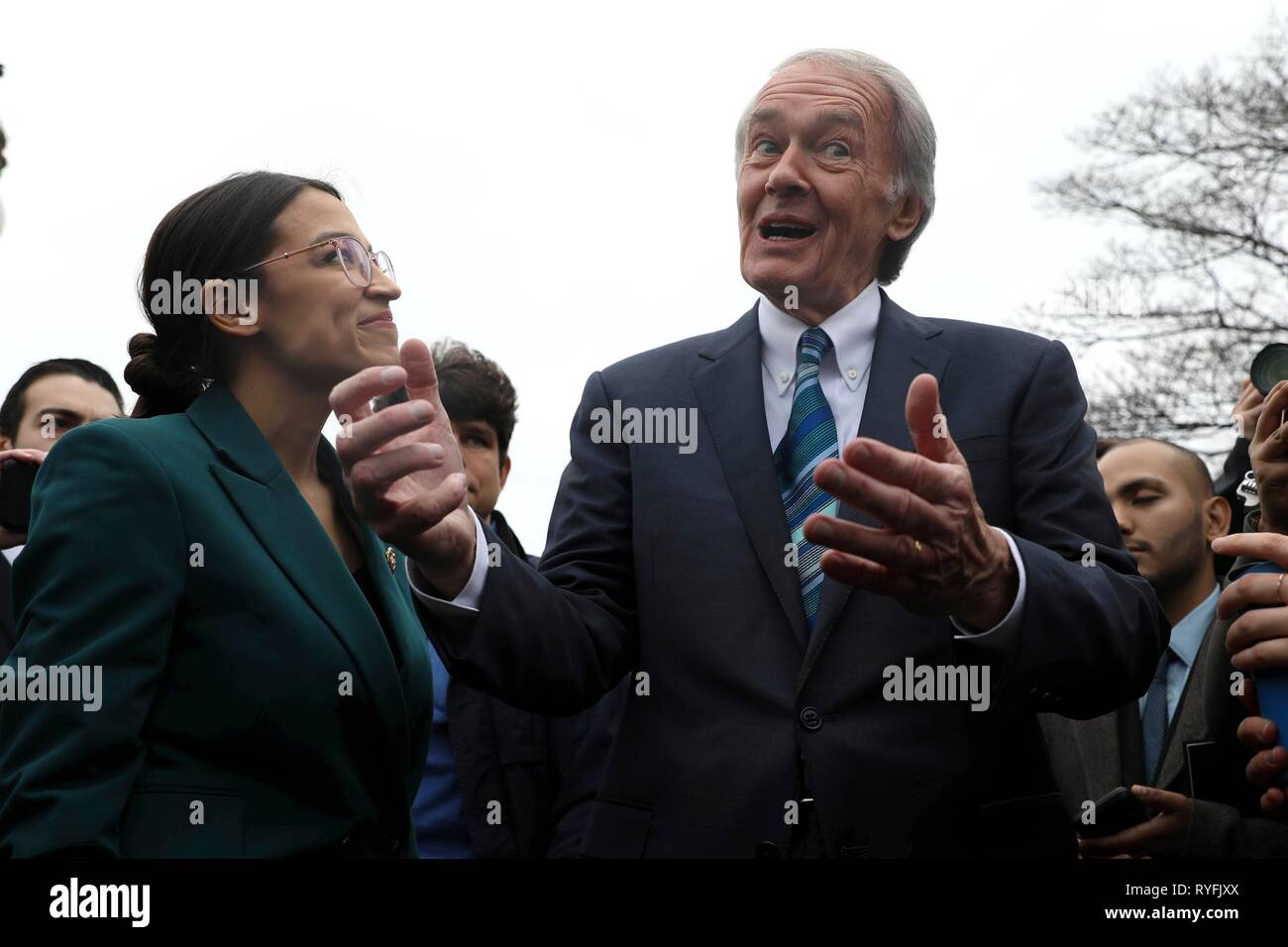 U.S. Senator Ed Markey and Rep. Alexandria Ocasio-Cortez, answers questions during the announcement for the Green New Deal legislation during a press conference outside the Capitol Building February 7, 2019 in Washington, D.C. Stock Photo