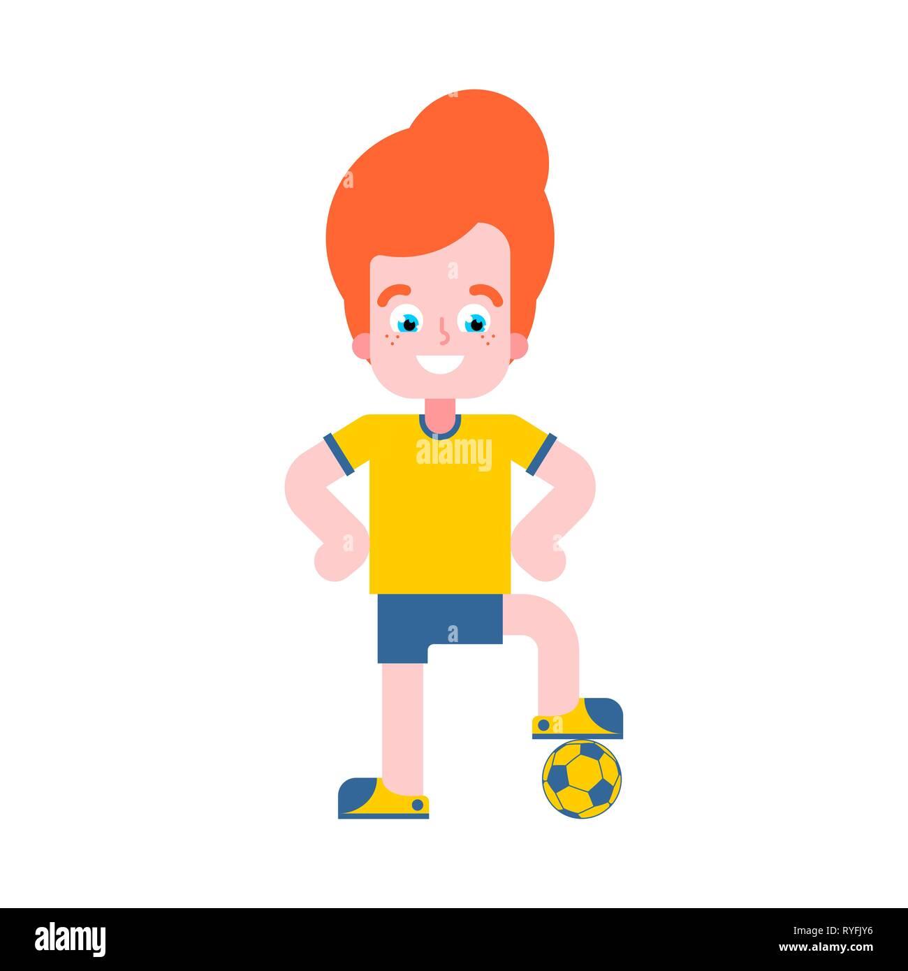 Boy football player. Little footballer Vector illustration - Stock Vector