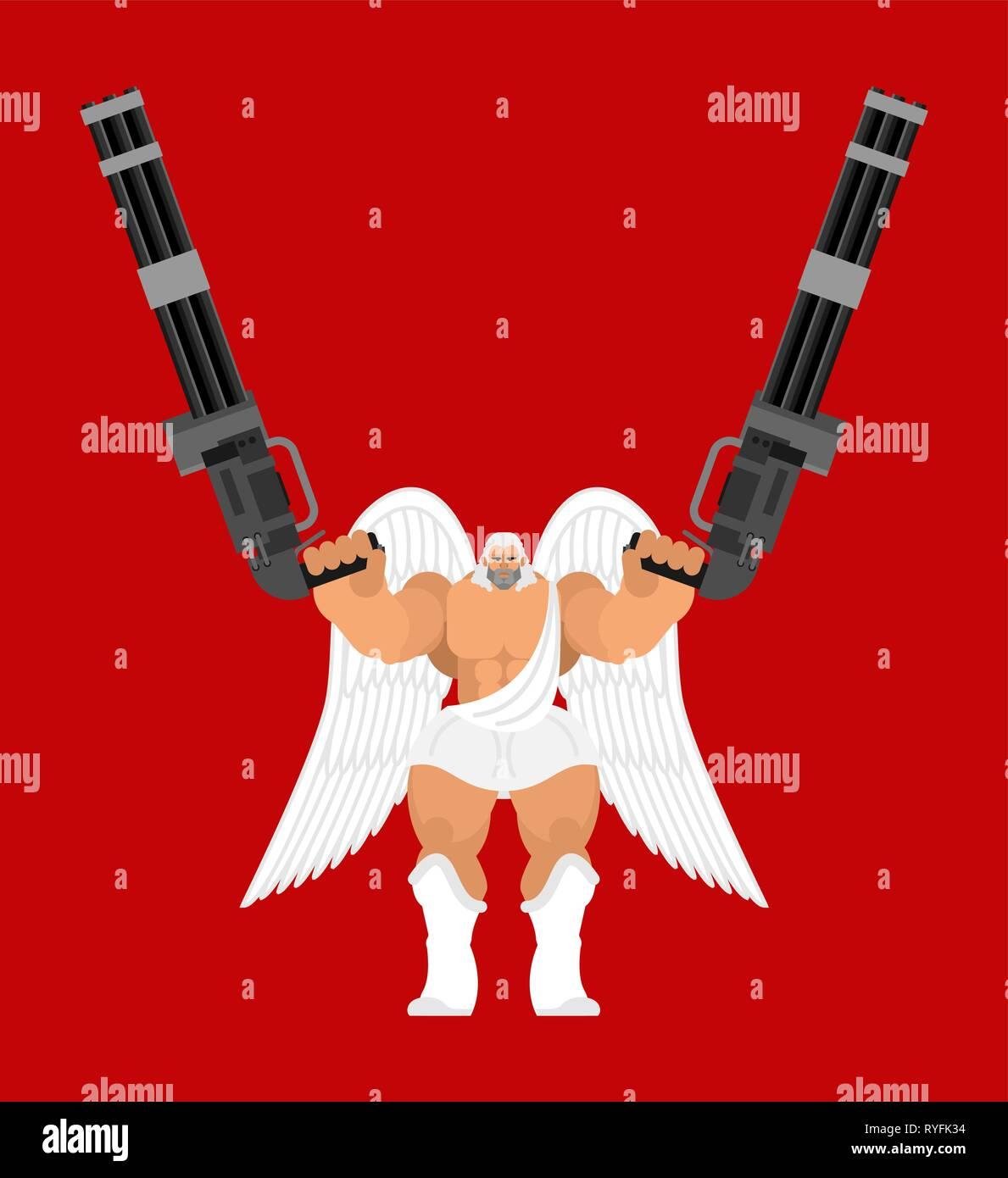 Guardian angel and Minigun. Warrior archangel and  Gattling gun. Battle saint patron - Stock Vector