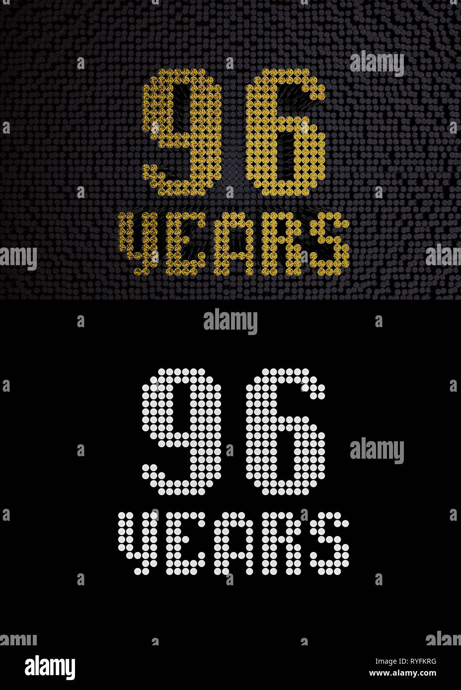 Golden number ninety-six years (number 96 years) dotted font, top