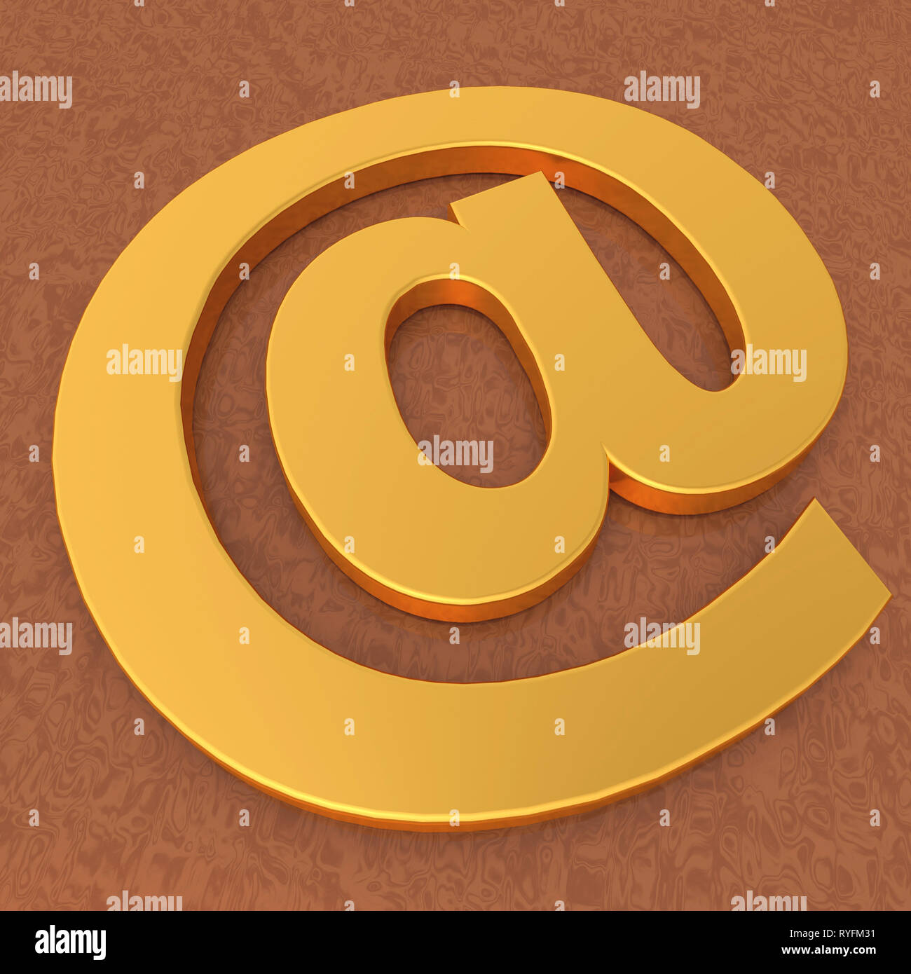 Gold Email Symbol with 3D Render illustration - Stock Image
