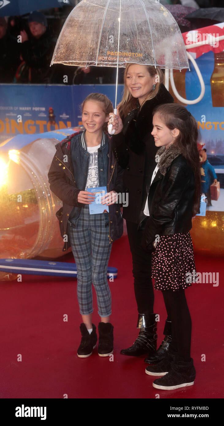 Nov 23, 2014 - London, England, UK - 'Paddington' World Premiere - Red Carpet Arrivals, Odeon, Leicester Square Photo Shows:  Kate Moss; Lila Grace - Stock Image