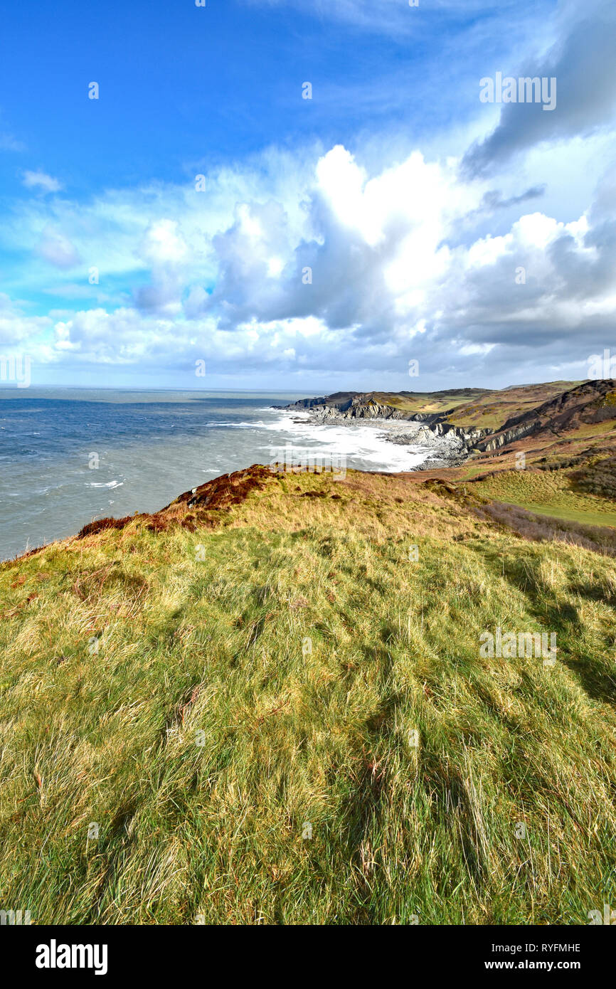 The view from the Southwest Coast Path at Morte Point, looking east towards Bull Point, North Devon, England Stock Photo