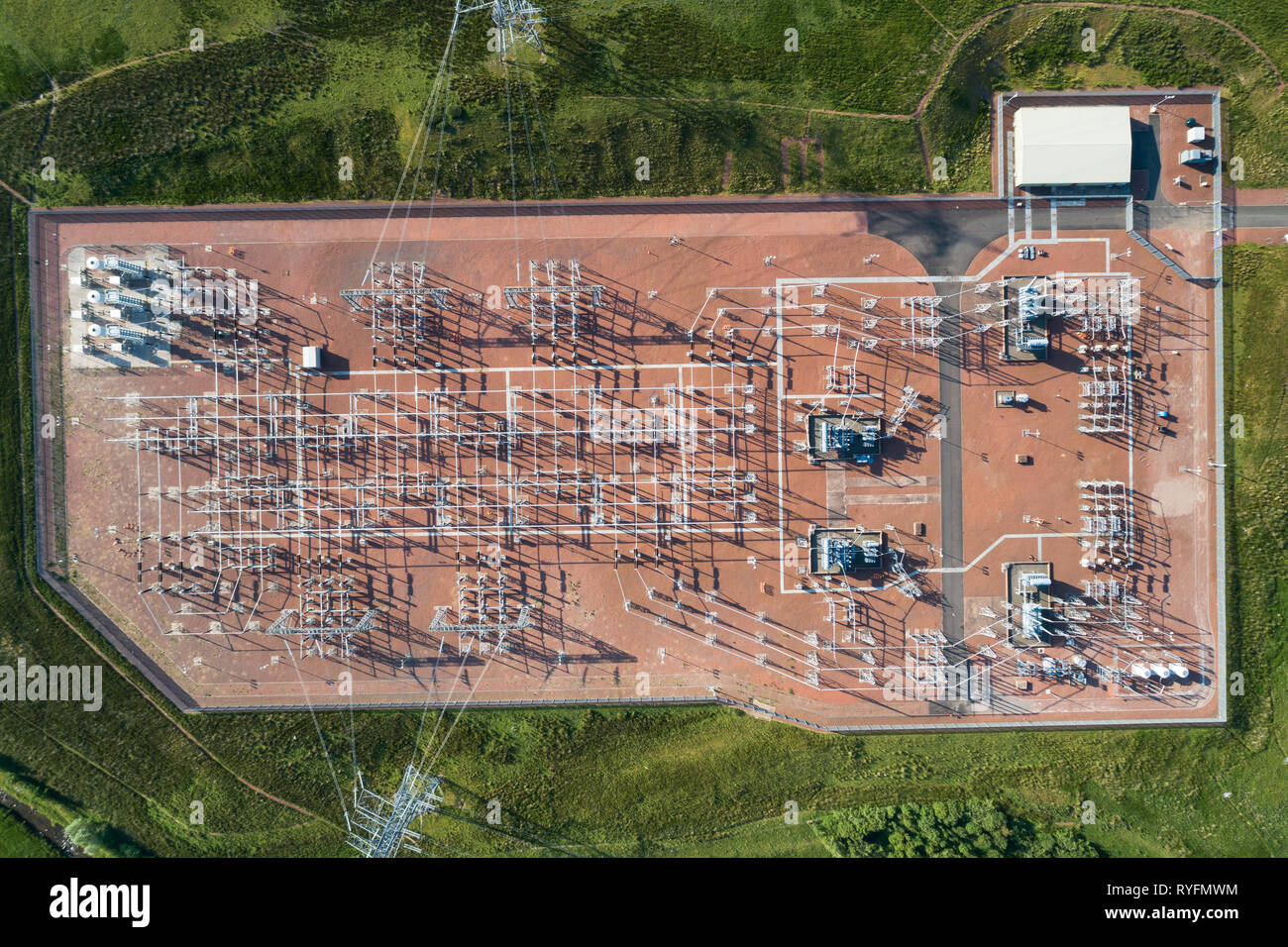 Aerial image of electricity substation for the Clyde wind Farm near the village of Elvanfoot in South Lanarkshire. - Stock Image