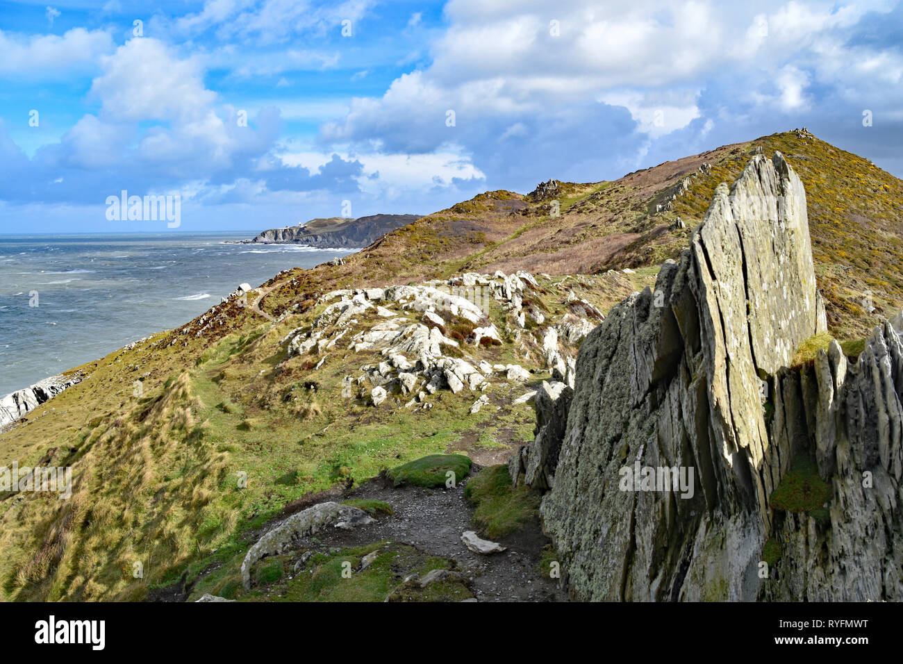 Looking east towards Bull Point from the Southwest Coast Path at Morte Point, North Devon, England. Stock Photo
