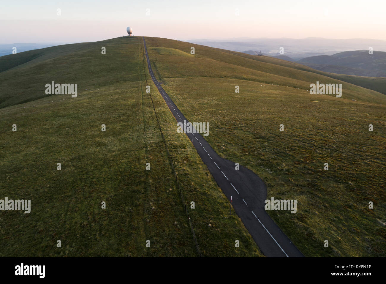 Aerial image of Lowther Hill National Air Traffic Services Radar Station above the villages of Wanlockhead and Leadhills in Dumfries and Galloway. - Stock Image