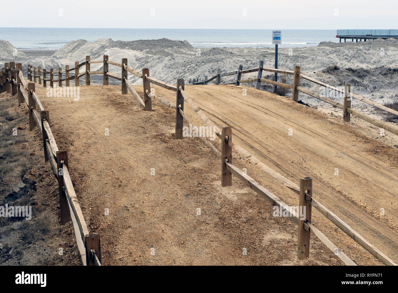 A surrealistic beach road in Wildwood by the Sea, New Jersey, USA - Stock Image