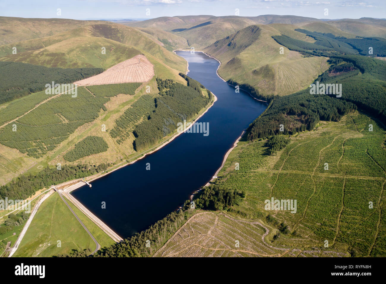 Aerial image of Talla Reservoir looking north towards Hartfell. - Stock Image