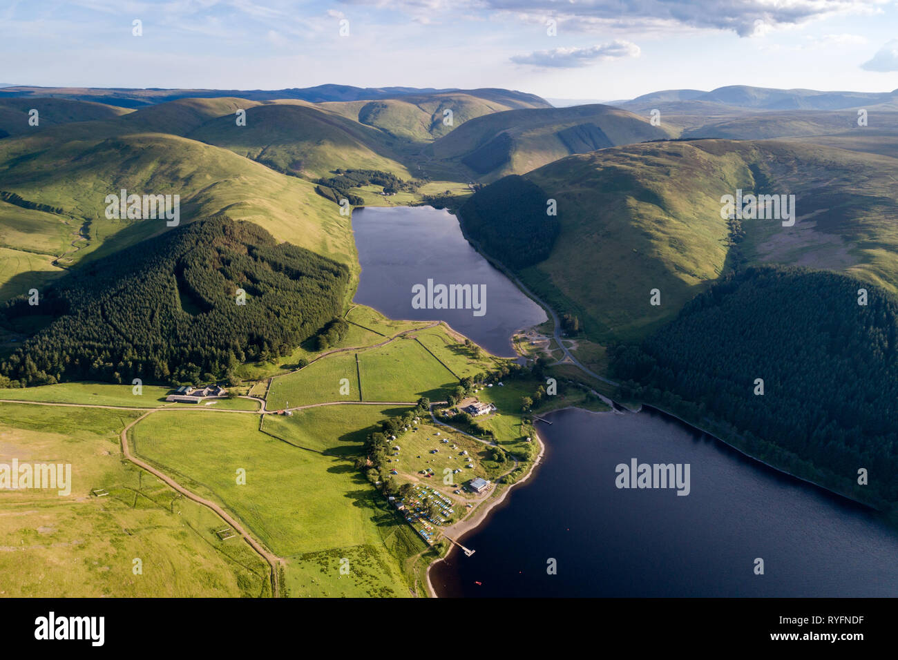 Aerial image of St Mary's Loch and Loch of the Lowes showing surrounding hills from a high vantage point. - Stock Image