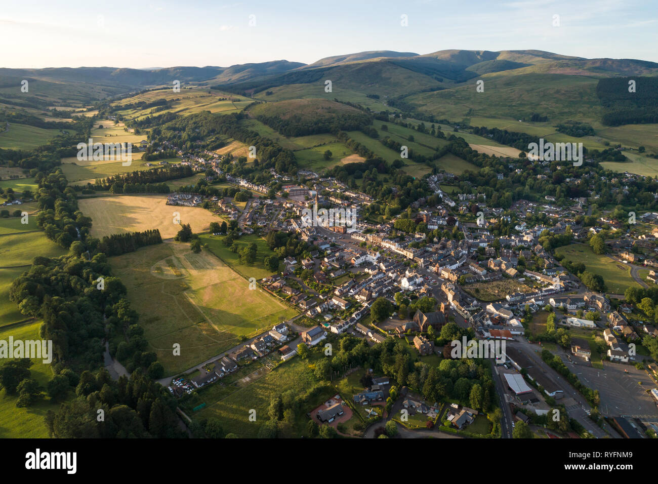 Aerial image of the Scottish Border market town of Moffat in Dumfries and Galloway. - Stock Image