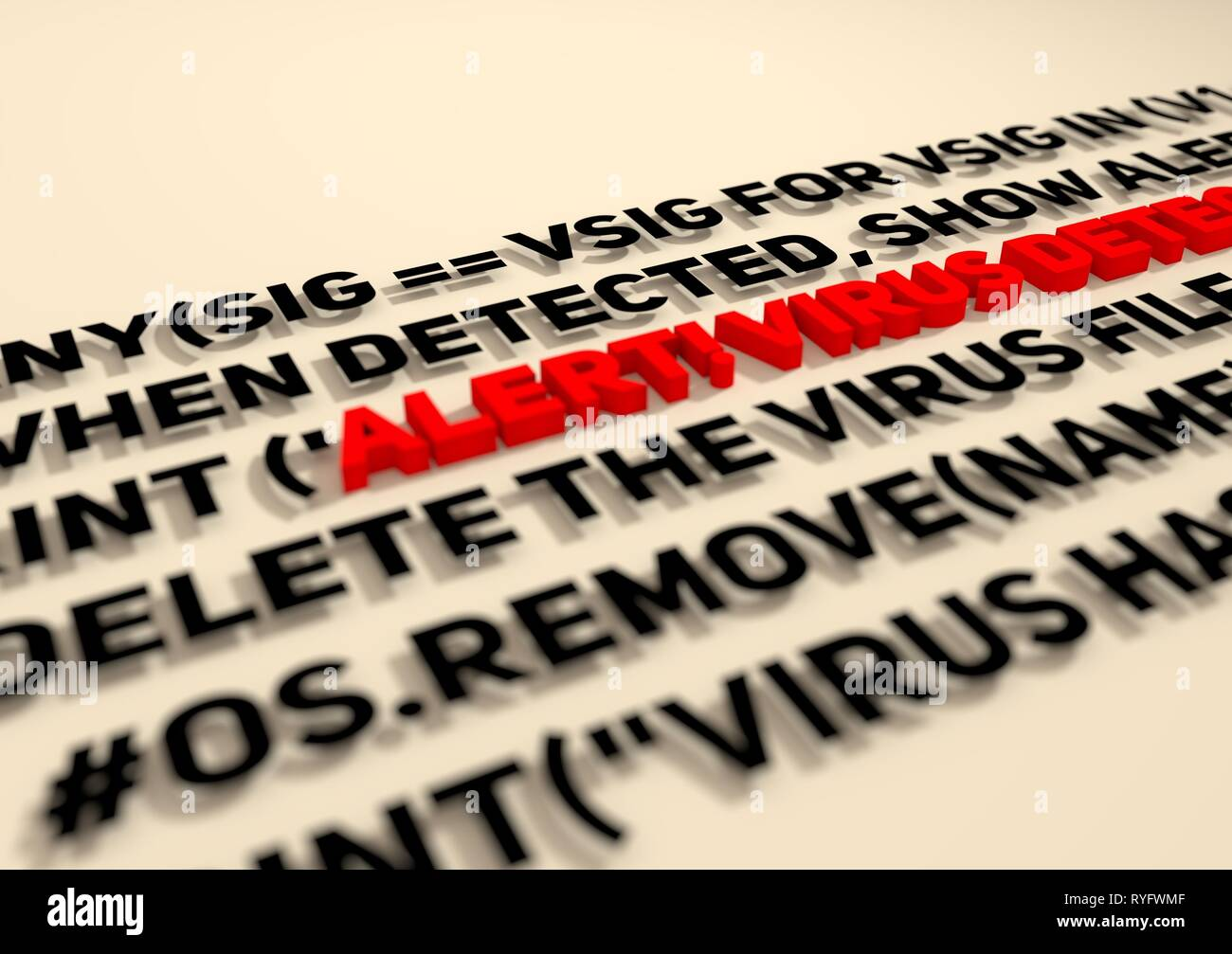 Alert  Virus detection text in computer abstract script code