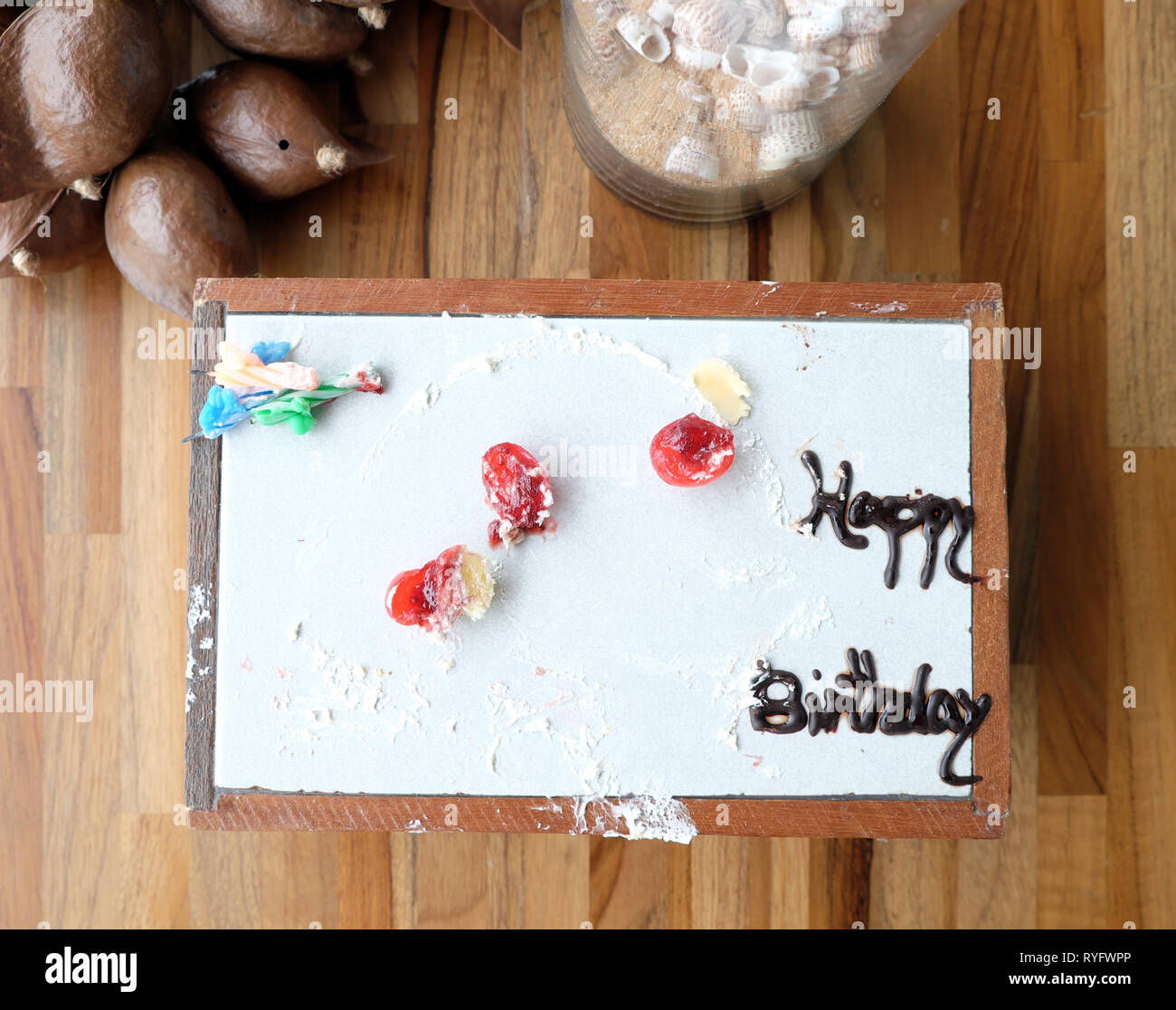 Outstanding Happy Birthday Cake Dirty And Empty Stock Photo 240680014 Alamy Personalised Birthday Cards Petedlily Jamesorg