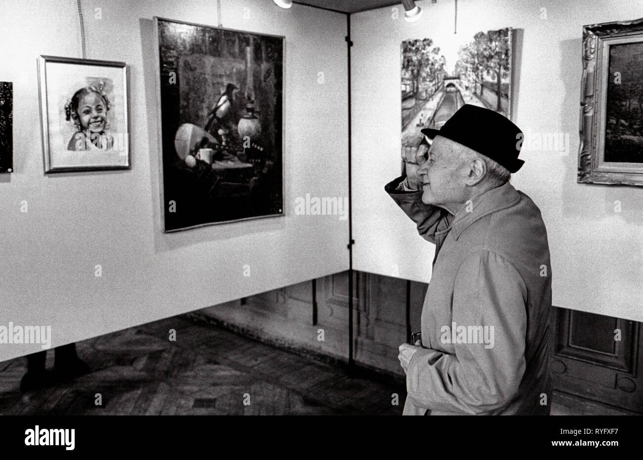 art exhibition at Buttes Chaumont, 19th Arrondissement town hall, Paris, France Stock Photo
